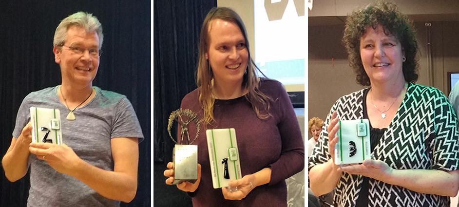 vlnr: Eric van Balkum (2e) - Sophie Kemper (winnaar) - Wil Meijer-Kal (3e)