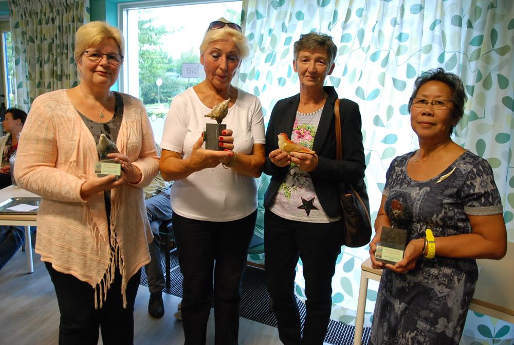 vlnr Vera Drost (2e) - Corryne Hartmans (3e) - Anita Van Hoof ('pechvogel') - Ieneke Marsidi (winnaar)