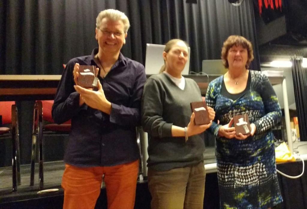 Eric van Balkum (2e) - Nicole Haasbroek (winnaar) - Dimphy van Grinsven (3e)